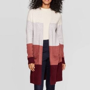 a new day colorblock Longline open cardigan small